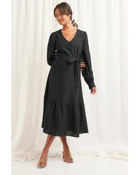 NA-KD Structured Tie Waist Dress - Noir