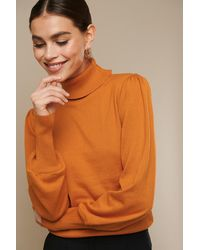 NA-KD High Neck Puff Sleeve Sweater - Oranje