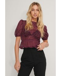 NA-KD Burgundy Frill Neck Lace Top - Multicolor