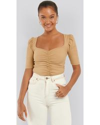 NA-KD Puff Sleeve Ruched Top - Natur