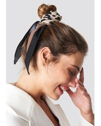 NA-KD Leo Print Hair Scarf - Bruin