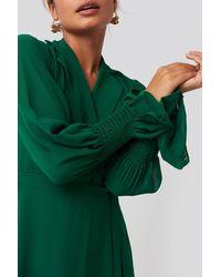 Trendyol Lapel Detailed Long Dress - Groen