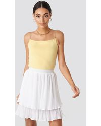 NA-KD Flounce Mini Pleated Skirt - Wit