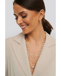 NA-KD Layered Uneven Pearl Necklace - Metallic