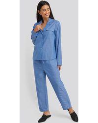 NA-KD Chambray Cotton Night Pants - Blauw