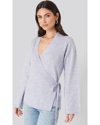 NA-KD Overlap Wide Sleeve Knitted Sweater - Paars