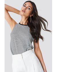 Mango - Striped Linen-blend T-shirt Black - Lyst