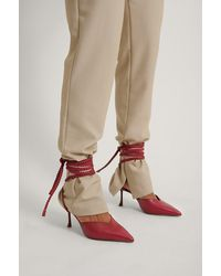 NA-KD Red Slanted Stiletto Lace Up Pumps