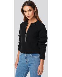 NA-KD Zipper Front Knitted Sweater - Noir