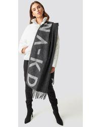 NA-KD - Wool Logo Scarf Grey - Lyst