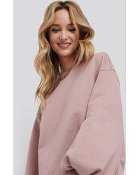 NA-KD Pink Puff Sleeve Sweatshirt Dress