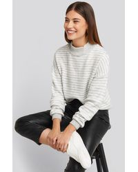 NA-KD Striped Balloon Sleeve Knitted Sweater - Mehrfarbig