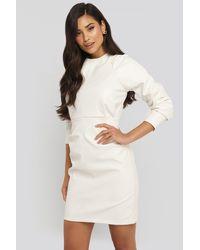 NA-KD Trend Puff Sleeve Soft Pu Dress - Weiß