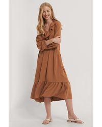 Trendyol Kleid Mit Details - Braun