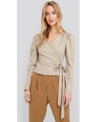 NA-KD - Wrap Over Long Sleeve Blouse - Lyst