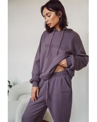 NA-KD Purple Embroidery Detail Oversized Hoodie