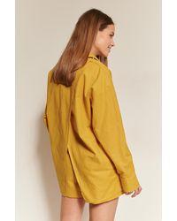 NA-KD Classic Linnen Shirt - Geel