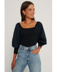 Trendyol Navy Balloon Sleeve Carmen Collar Jumper - Blue