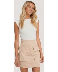 NA-KD Beige Cargo Pocket Skirt - Natural