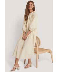 NA-KD Beige Oversized Cotton Dress - Natural