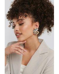 NA-KD Accessories Uneven Flat Earrings - Mettallic