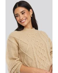 NA-KD - Cable Knitted Balloon Sleeve Sweater - Lyst