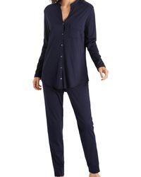 Hanro Pure Essence Long Sleeve Pajama - Blue