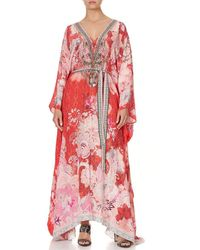 Camilla Palace Muse Split Hem Lace Up Kaftan - Red