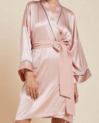 Olivia Von Halle Mimi Short Robe - Pink