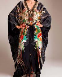 Camilla Queen Of Kings Split Front Lace Up Kaftan - Black