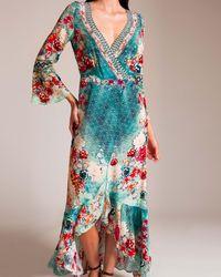 Camilla Her Heirloom Long Sleeve Wrap Dress - Blue