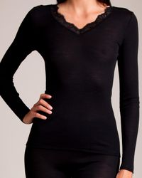 Hanro Woollen Lace Long Sleeve Top - Black