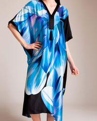 Josie Natori Luminous Lotus Caftan - Blue