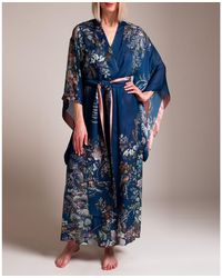 Camilla Colorful Garden Of Lace Kimono - Blue
