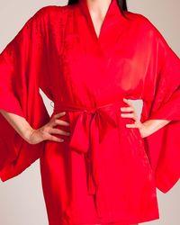 Josie Natori Marilyn Short Robe - Red