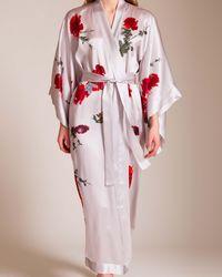 Meng Long Silk Satin Kimono - White
