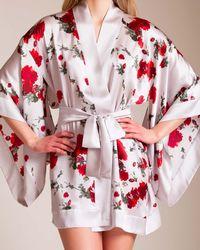Meng Short Silk Kimono - White