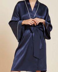 Olivia Von Halle Mimi Short Robe - Blue