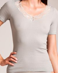 Hanro Lace Delight Short Sleeve Top - White