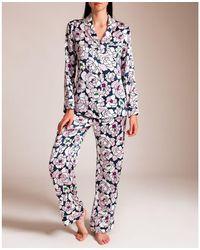 Olivia Von Halle Kensal Lila Silk Pyjama - Multicolour