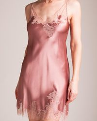 Carine Gilson Colorful Garden Of Lace V-neck Chemise - Pink