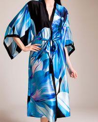 Josie Natori Luminous Lotus Long Kimono - Blue