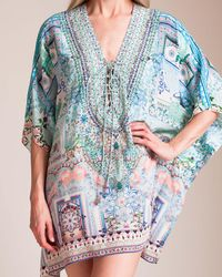 Camilla - Lovers Retreat Short Lace Up Kaftan - Lyst