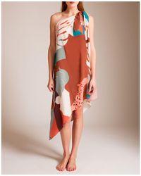 Adriana Degreas Tropiques Silk One Shoulder Dress - Orange