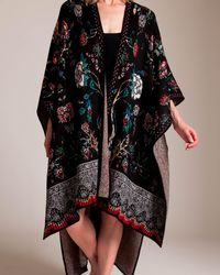Camilla Haute Provincial Throw Over Poncho - Black