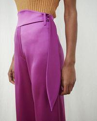Nanushka - Wide Leg Pants With Rounded Waistband - Lyst