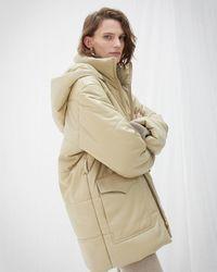Nanushka Quilt Detail Puffer Coat - Natural