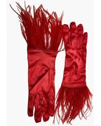 NARCES Ostrich Feather Red Satin Gloves