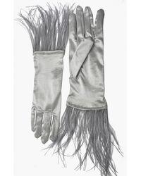 NARCES Ostrich Feather Silver Satin Gloves - Metallic