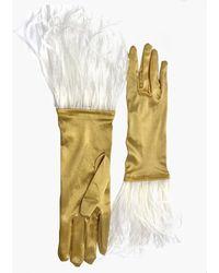 NARCES Ostrich Feather Gold Satin Gloves - Metallic